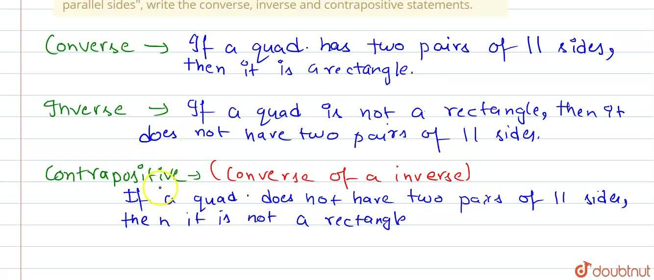 """Solution for For the statement: """"If a quadilateral is a rectang"""
