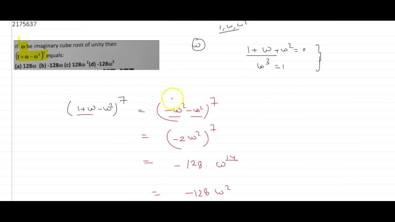 Solution for If w be imaginary cube root of unity then (1 +