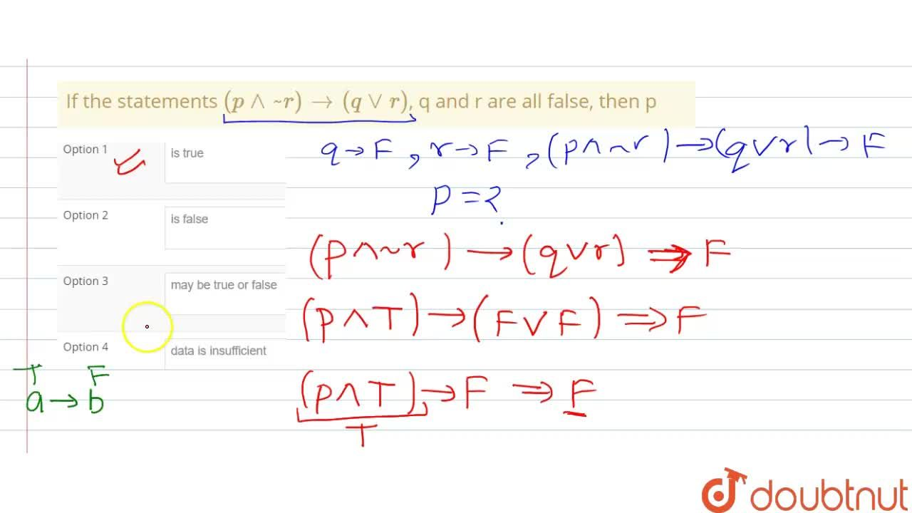 Solution for If the statements (p^^~r) to (qvvr), q and r are