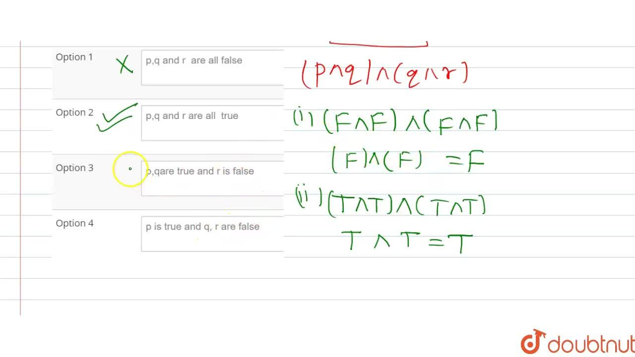Solution for If p,q and r are simple propositions such that (p