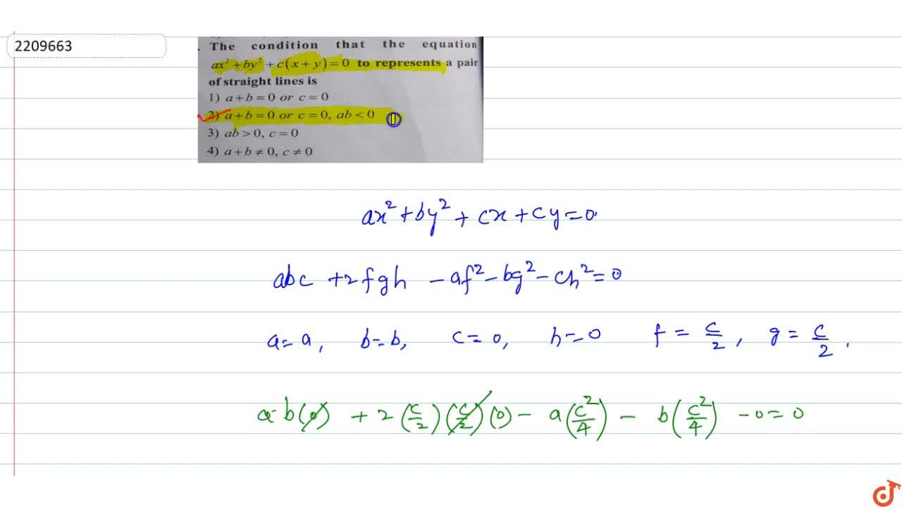 Solution for The condition that the equation ax^2+by^2+c(x+y)=