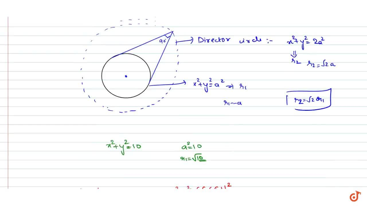 Locus of the point of intersection of perpendicular tangents to the circle x^2+y^2=10 is
