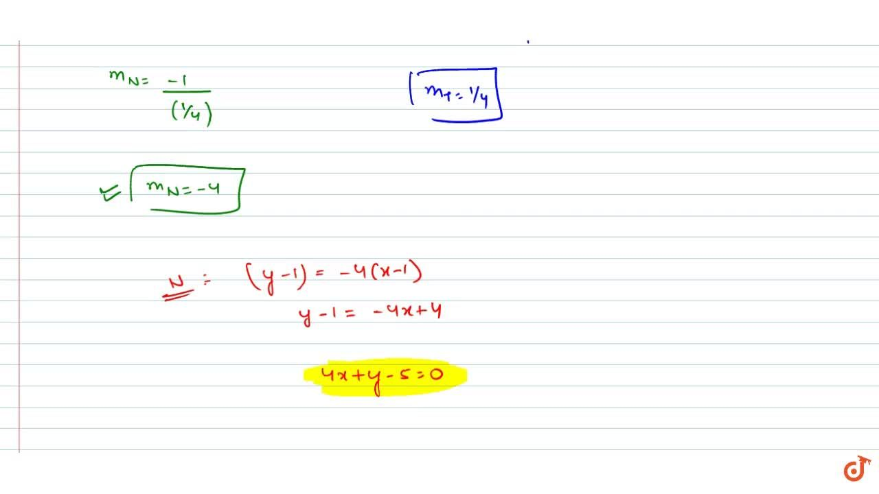 Solution for The normal at (1,1) to the circle x^2 + y^2 - 4