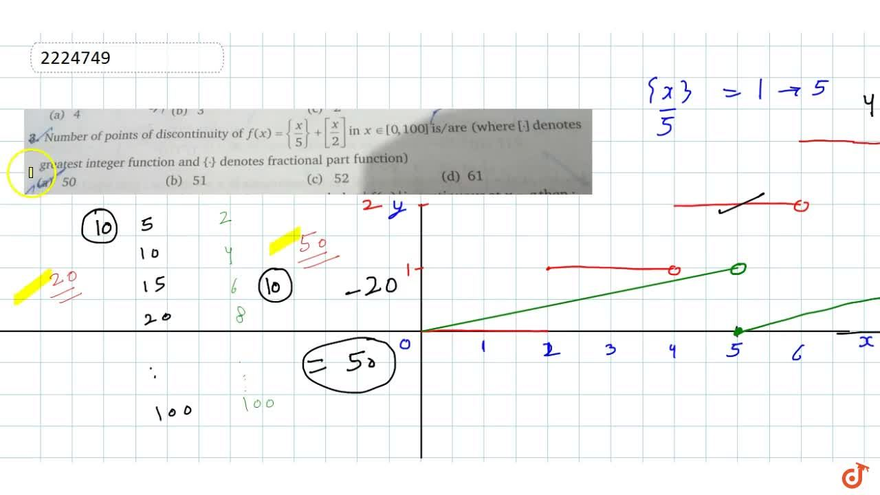 Solution for Number of points of discontinuity of f(x)={x,5}+{