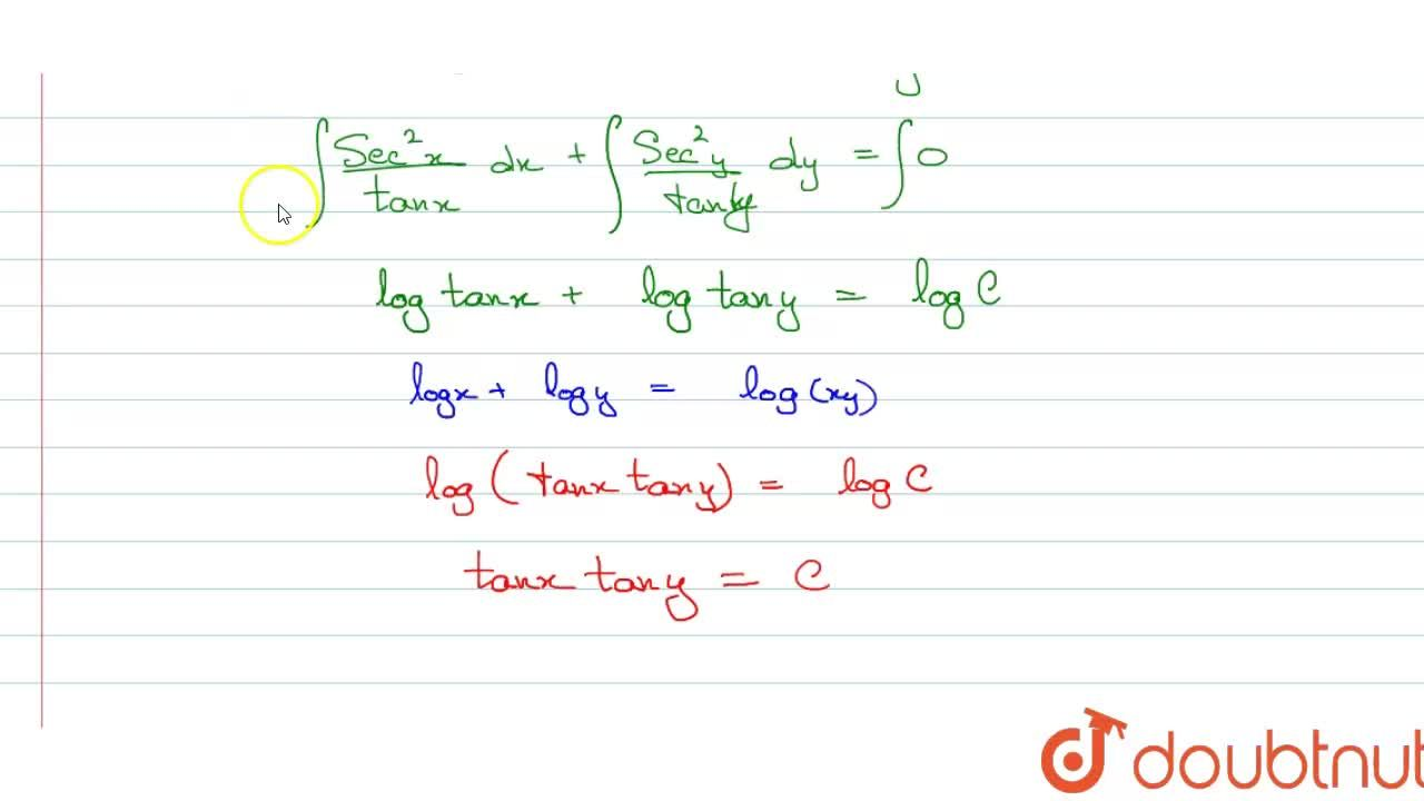 Solution for Solve sec^(2)x tany dx+sec^(2)y tanx dy=0