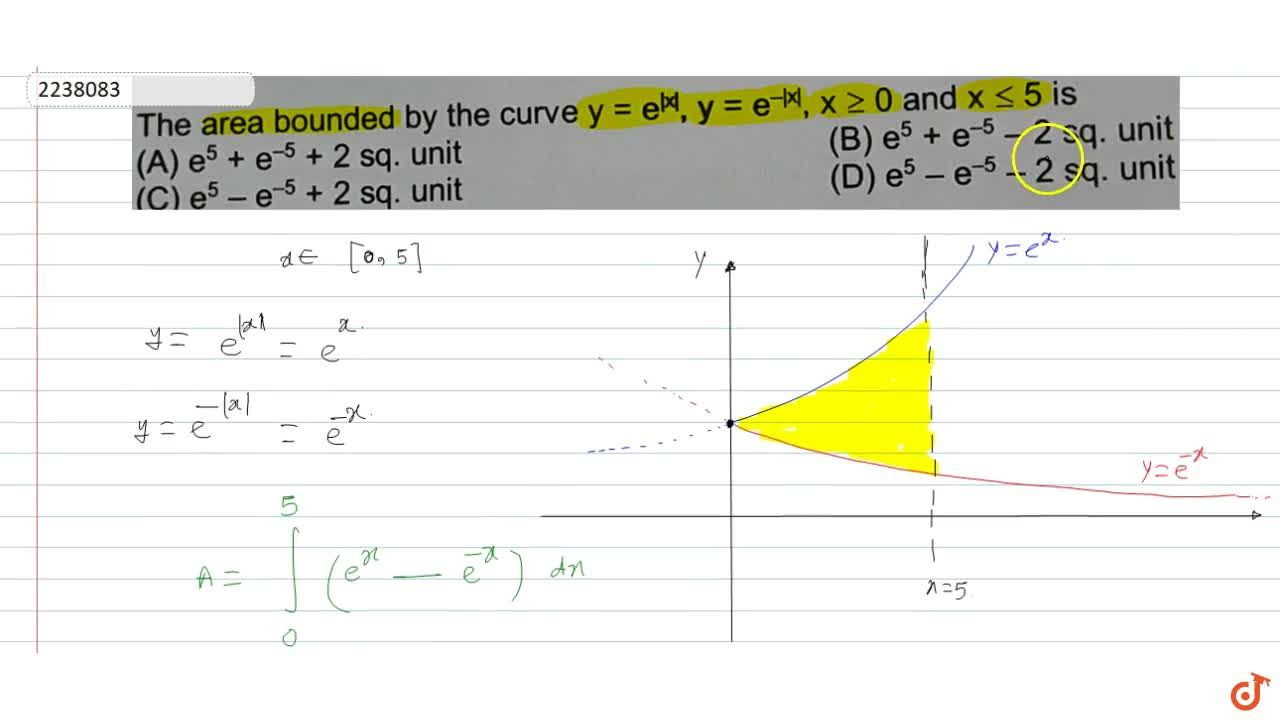 Solution for The area bounded by the curve y y=e^ x ,y=e^(- x 