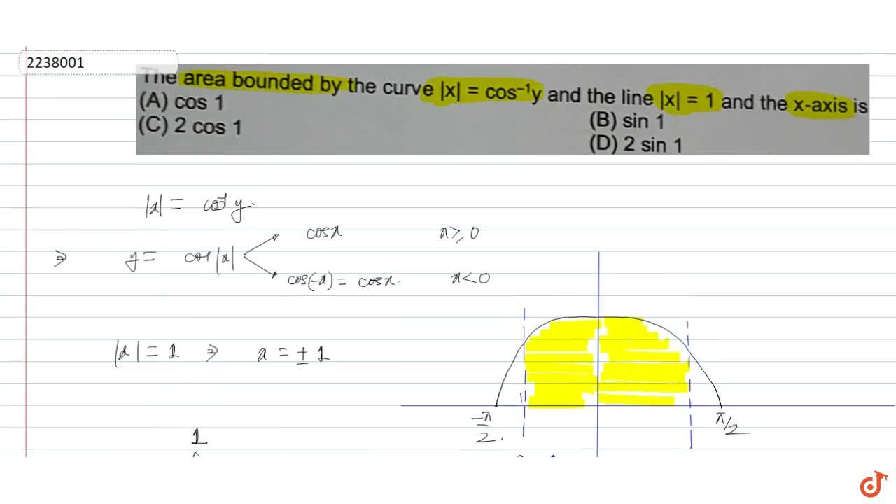 Solution for The area bounded by the curve   x =cos^-1y and t