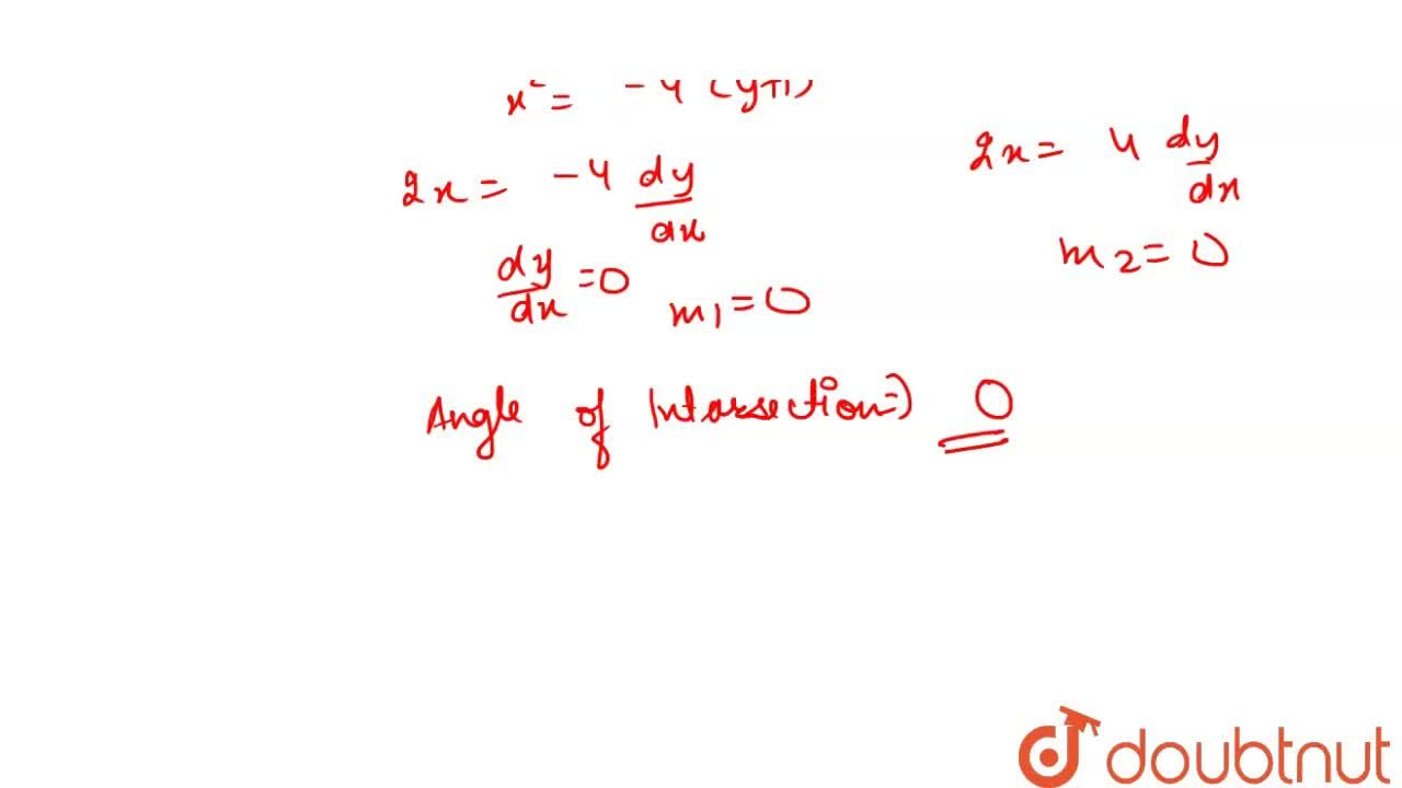 Solution for The angle of intersection between the curves x^(2