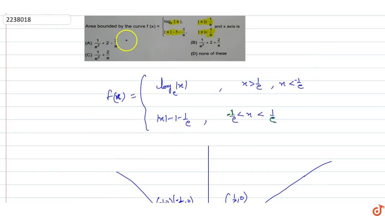 Area bounded by the curve f(x) ={log_e|x|,|x| >= 1,e |x|-1-1,e, |x|< 1,2 and x axis is
