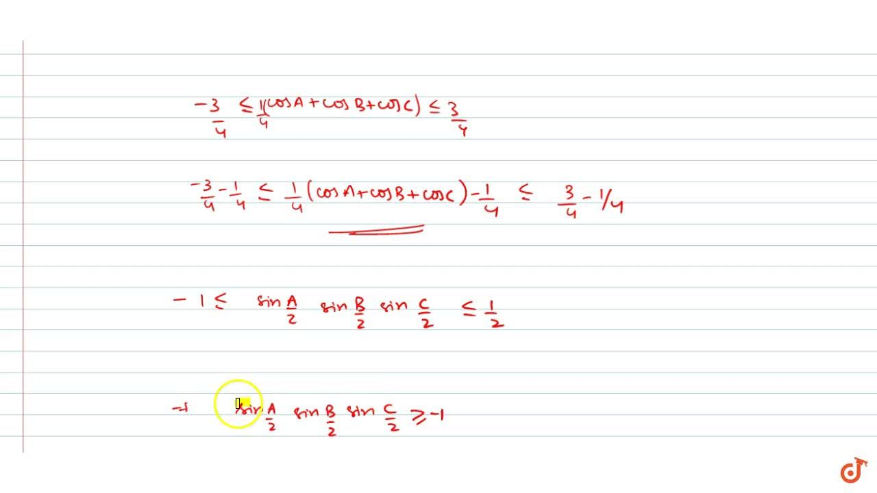 Solution for is A+B+C=pi, prove that sin(A,2)sin(B,2) sin(C,