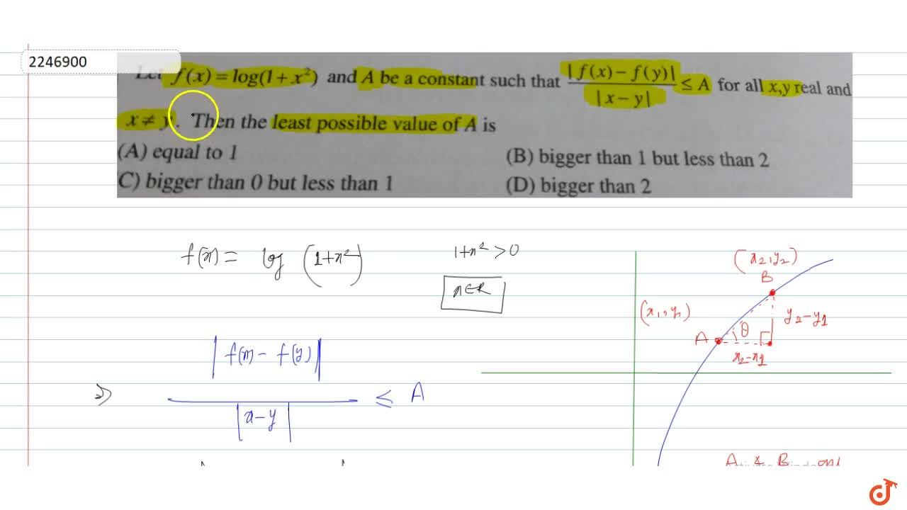 Solution for Let f(x) = log(1+x^2) and A be a constant such