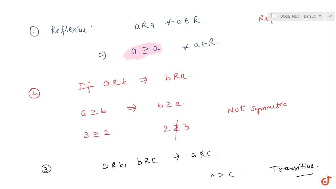 Solution for Let R be a relation defined by R={(a, b): a >=