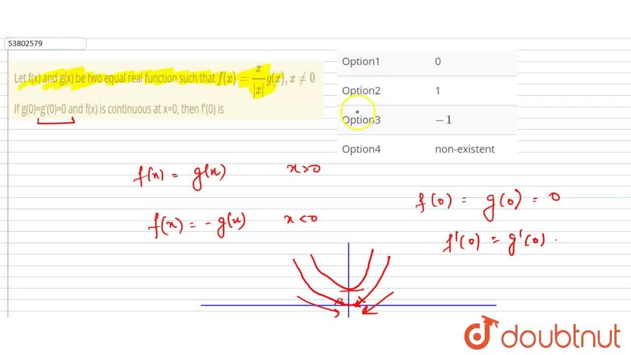 Solution for Let f(x) and g(x) be two equal real function such