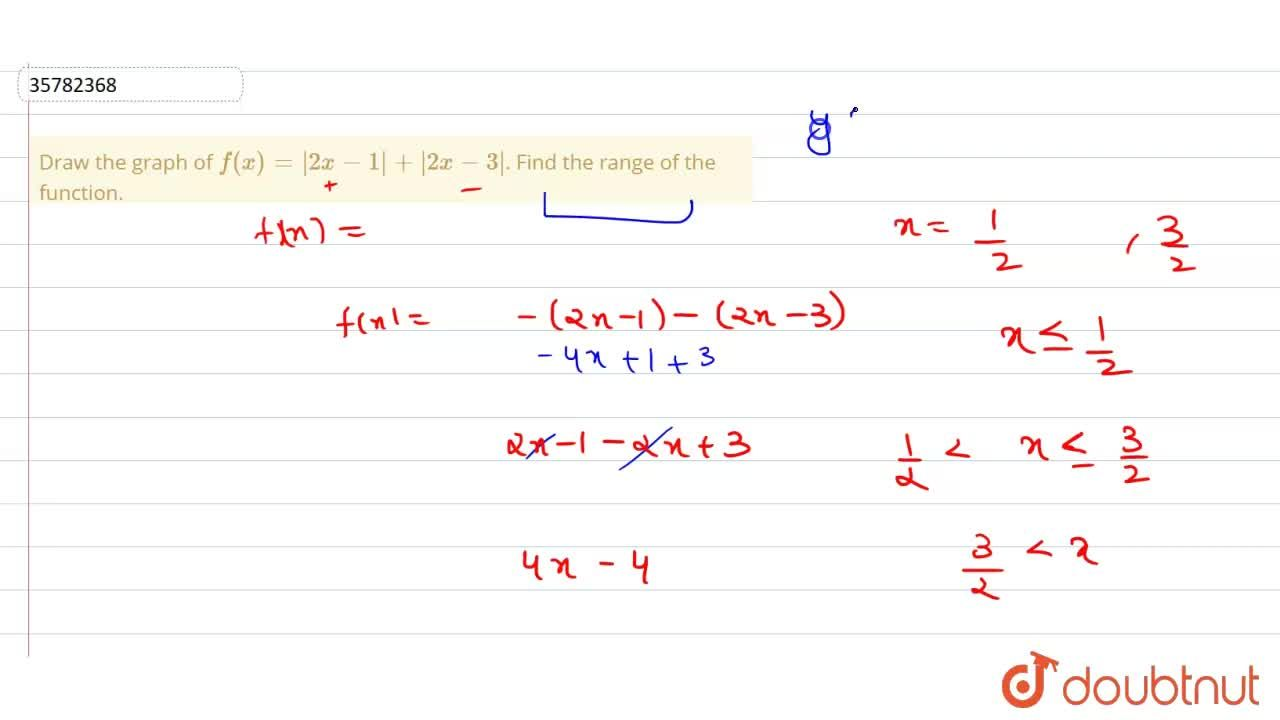 Draw the graph of f(x)=  2x-1 +  2x-3 . Find the range of the function.