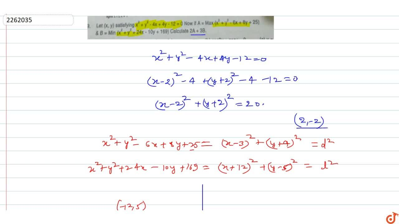Solution for  Let (x,y) satisfying x^2+y^2-4x+4y-12=0 Now i