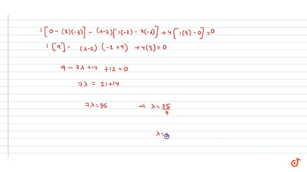 Solution for Find lambda for which the points A(3,\ 2,\ 1),\