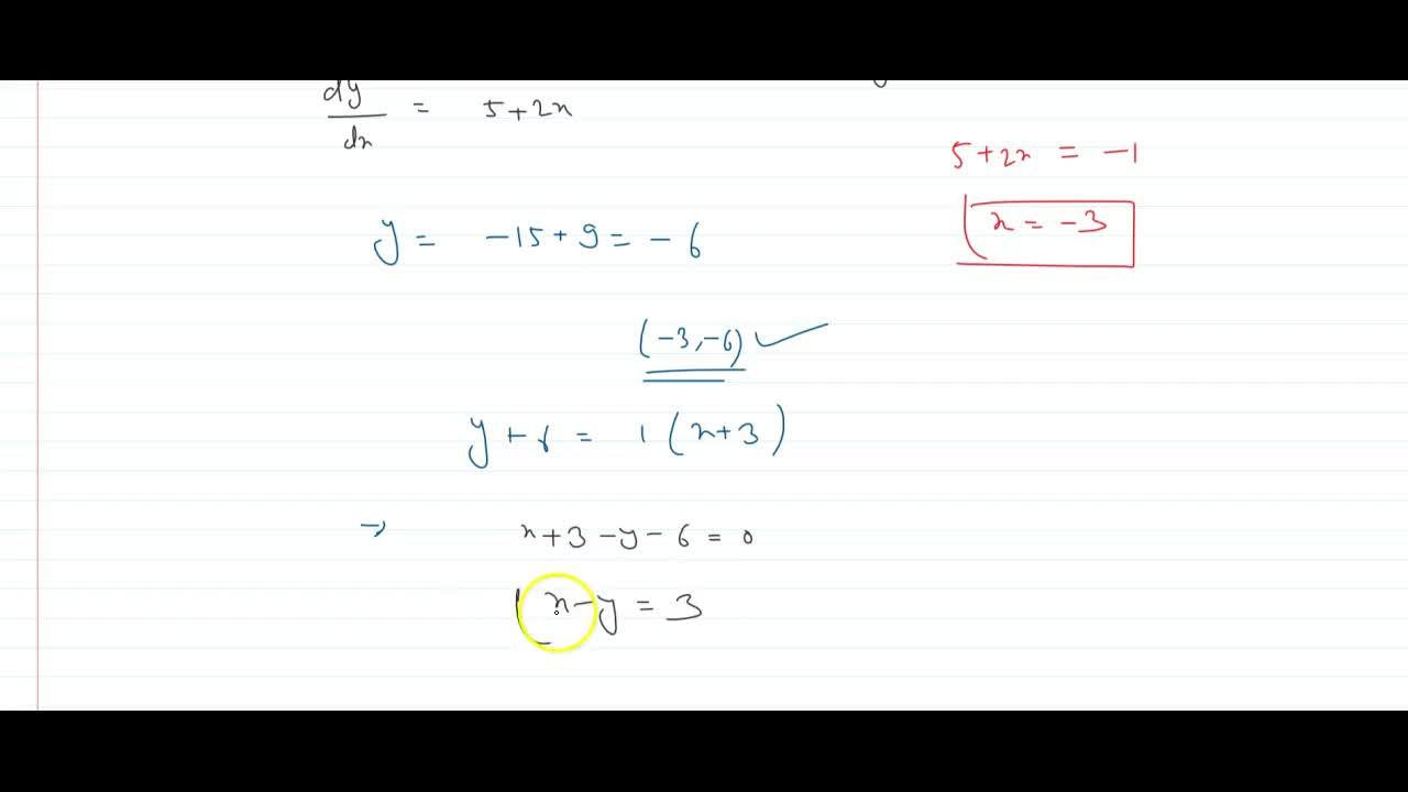 Solution for Find the equation of the normal to the curve y =
