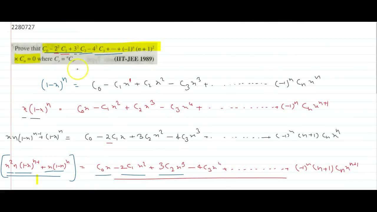 Prove that C_0 – 2^2 C_1 + 3² C_2 – 4^2 C_3 + ... +(-1)^n (n + 1)^2  C_n = 0 where C_r = nC_r