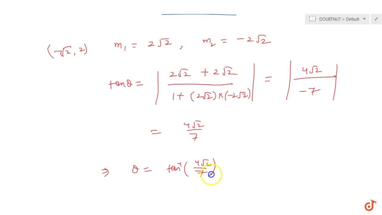 Find angle of intersection of the curves y=4 - x^2 and y=x^2.