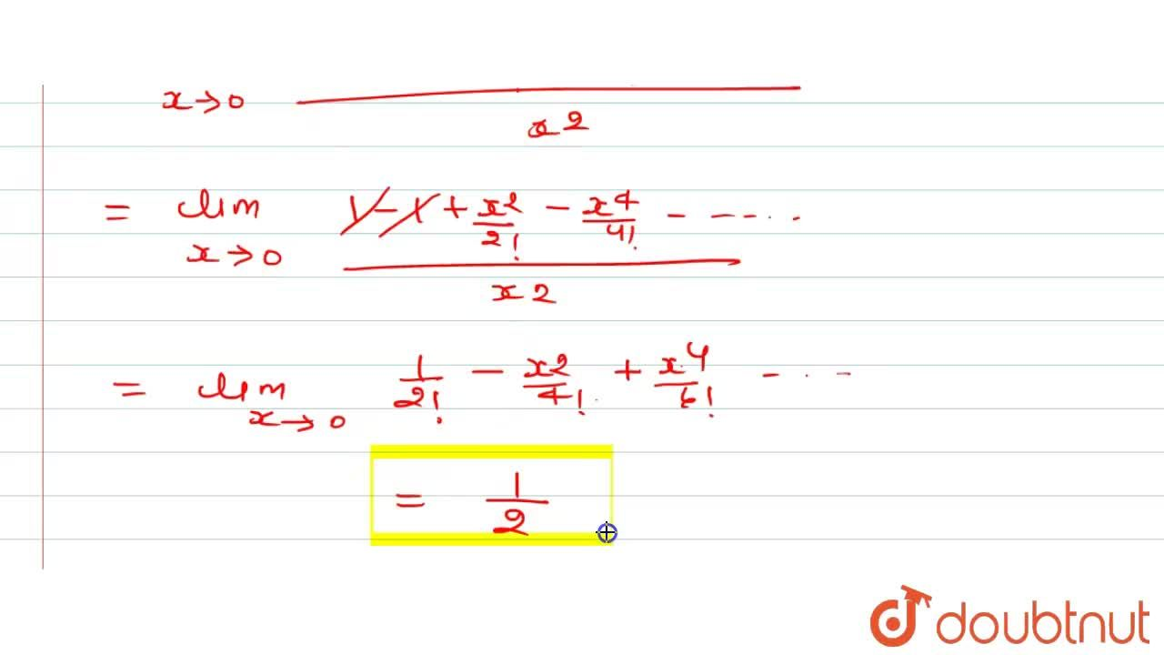 Solution for lim_(xto0)(1-cosx),(x^2)