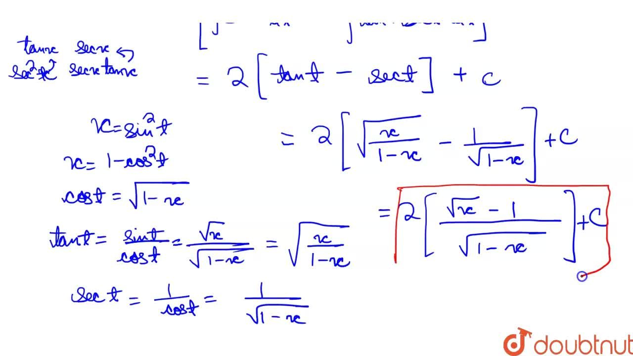 Solution for int(1),((1+sqrtx)sqrt(x-x^(2)))dx is equal to