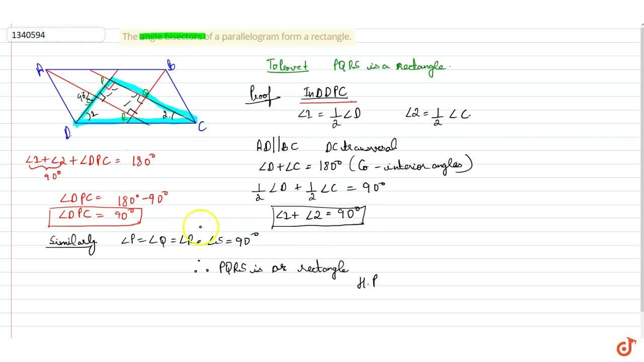 QUADRILATERALS | PARALLELOGRAM | A diagonal of a parallelogram divides it into two congruent triangles., In a parallelogram opposite sides are equal, The opposite angle of a parallelogram are equal., In a parallelogram, the bisectors of any two consecutive angles intersect at right angle., The diagonals of a parallelogram bisect each other., In a diagonal of a parallelogram bisects one of the angles of the parallelogram; it also bisects the second angle., The angle bisectors of a parallelogram form a rectangle.