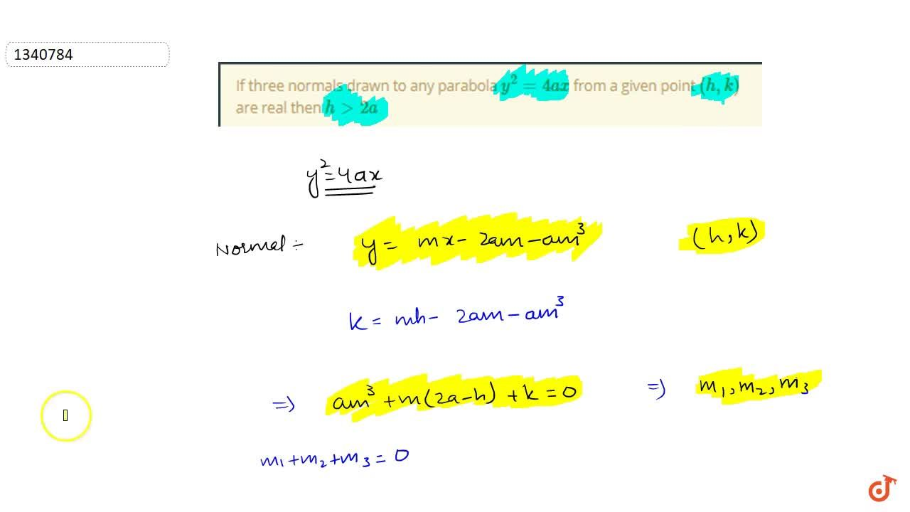 Solution for PARABOLA   EQUATION OF NORMAL, PROPERTIES OF NORMA