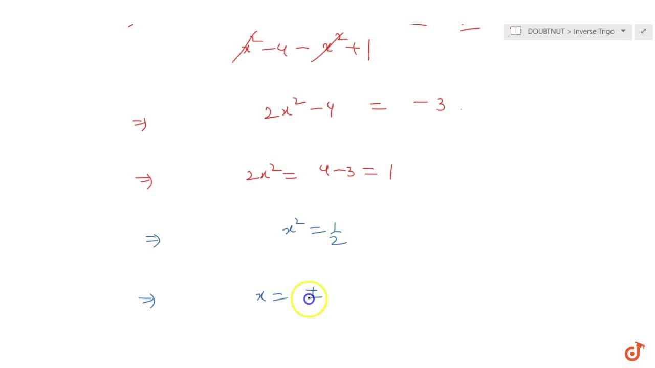 Solution for Solve the equation tan^(-1) ((x-1),(x-2))+tan^(-1