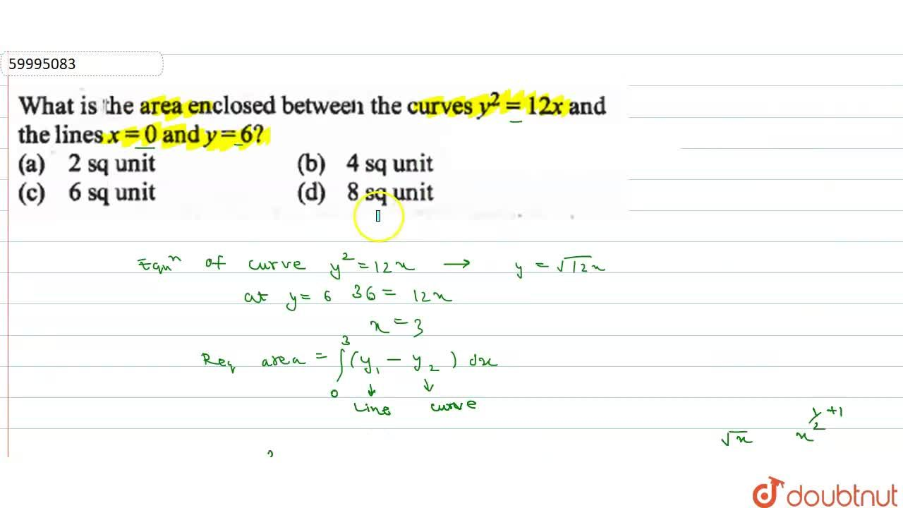 Solution for What is the area  enclosed  between the curves  y