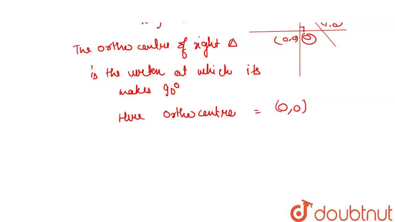 Solution for The orthocenter of the triangle formed by the line