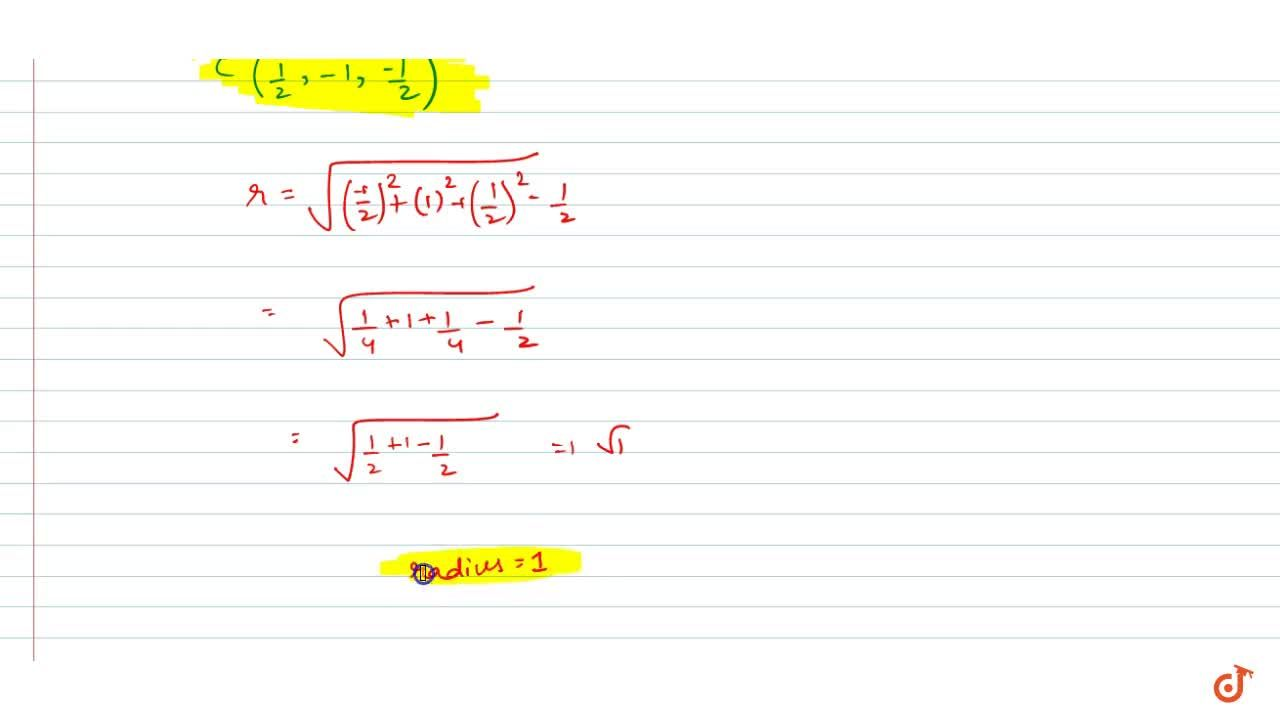 Solution for the centre and radius of the sphere 2x^2+2y^2+2z^