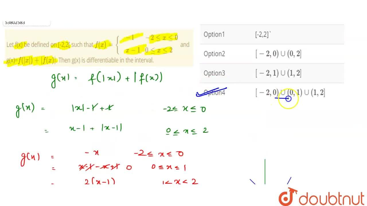 Solution for Let f(x) be defined on [-2,2[ such that f(x)={{:(