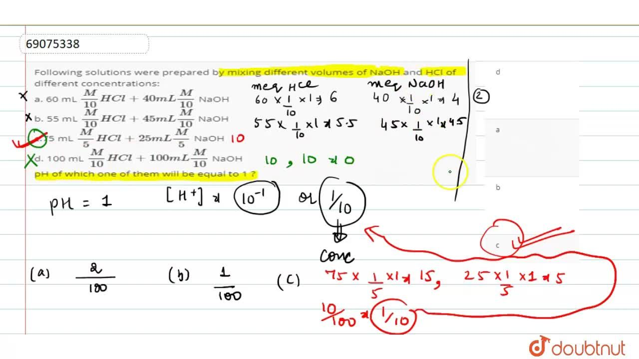 Solution for Following solutions were prepared by mixing differ