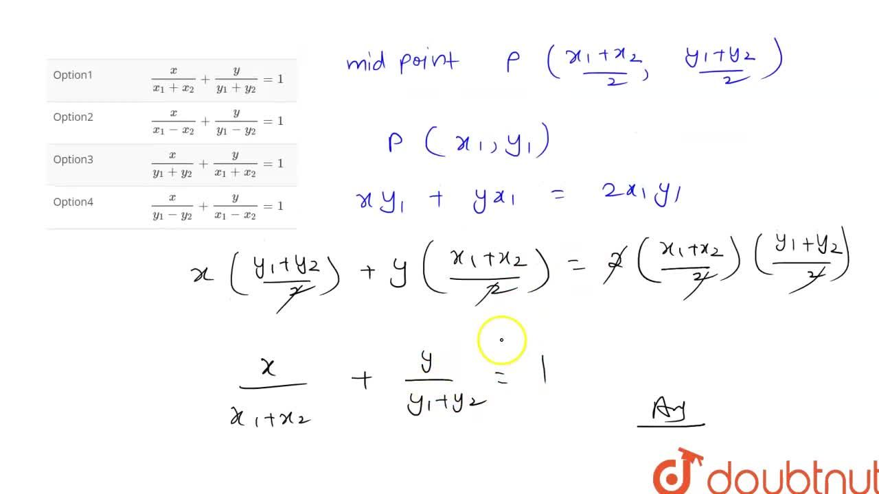 Solution for The equation of the chord joining two points (x_(