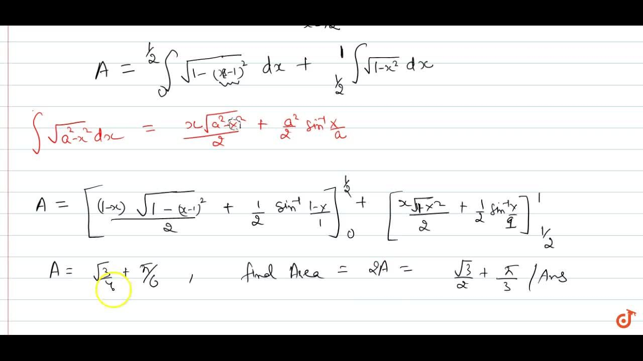 Solution for APPLICATION OF INTEGRALS   NUMBERS, AREA BETWEEN T