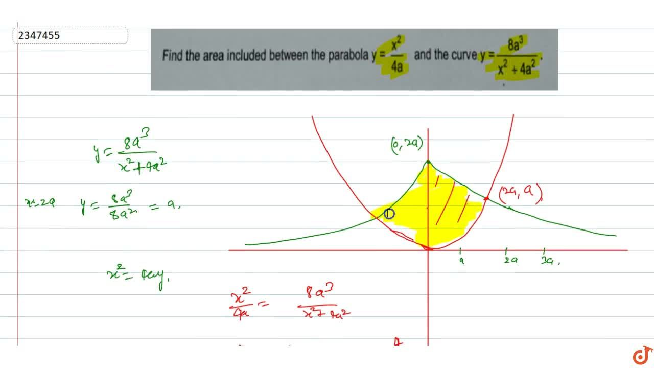 Find the area included between the parabola y =x^2,(4a) and the curve y=(8 a^3),(x^2 + 4 a^2).