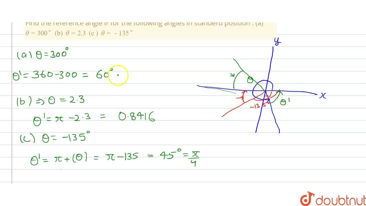 Solution for Find the reference angle theta'for the following