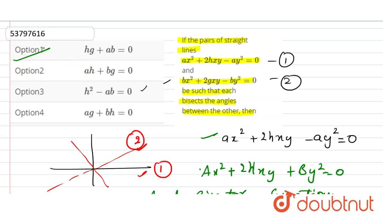 Solution for If the pairs of straight lines ax^(2)+2hxy-ay^(2)