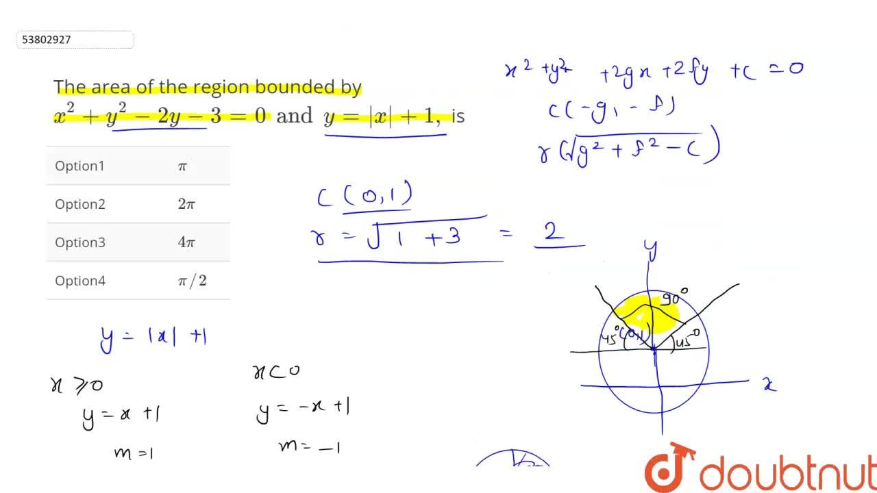 Solution for The area of the region bounded by x^(2)+y^(2)-2y-
