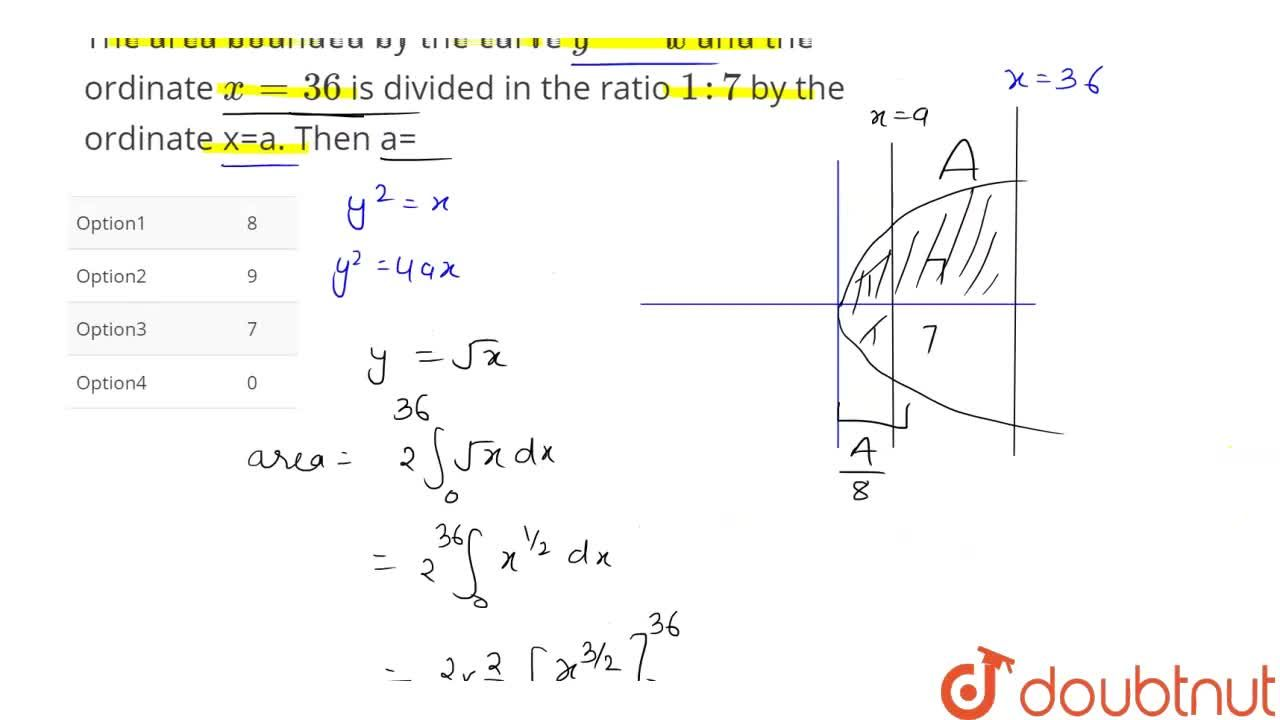 Solution for The area bounded by the curve y^(2)=x and the or