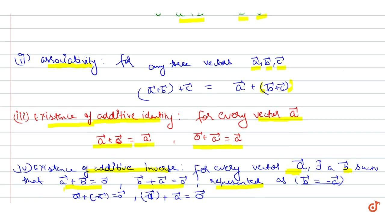 Solution for VECTOR ALGEBRA | ADDITION OF VECTOR | Properties o