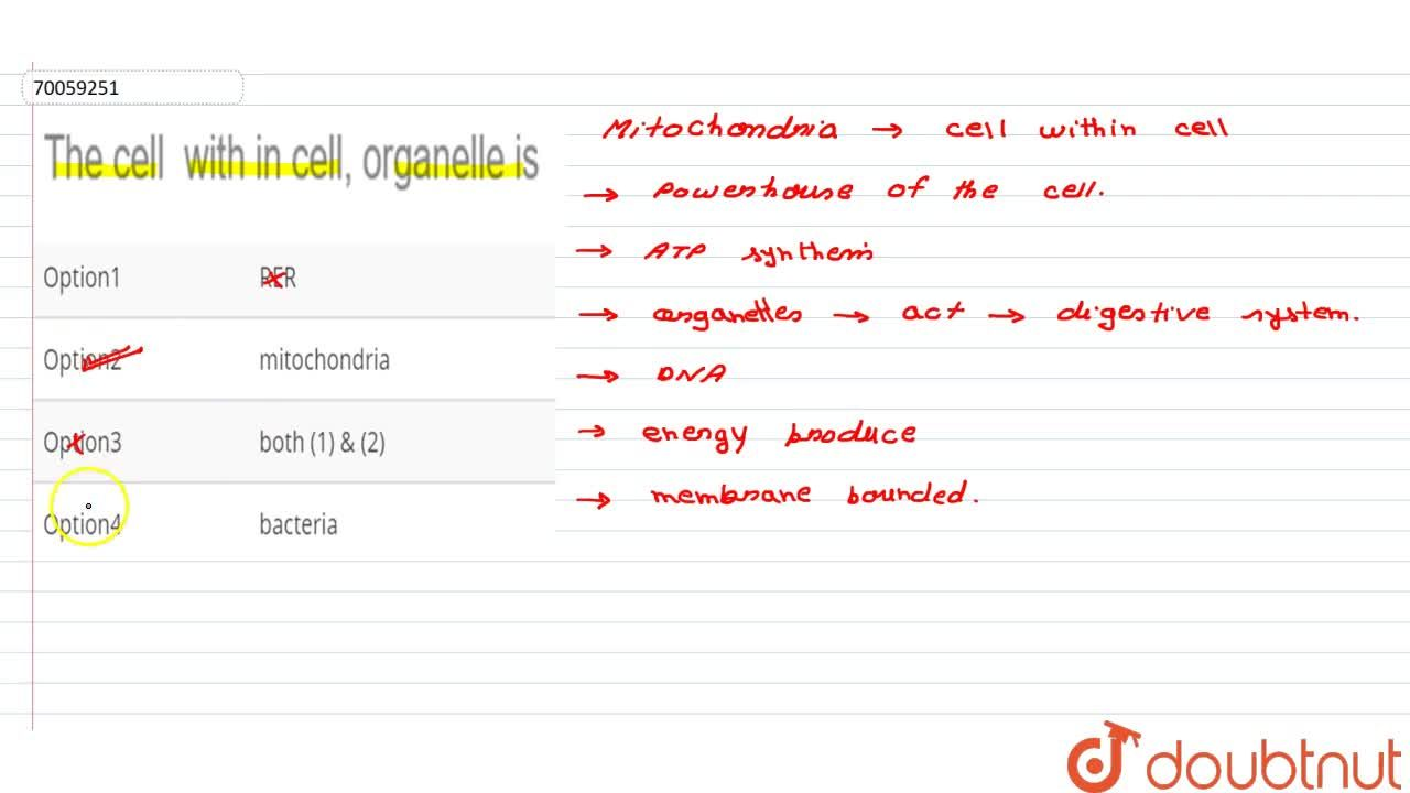 Solution for The cell  with in cell, organelle is