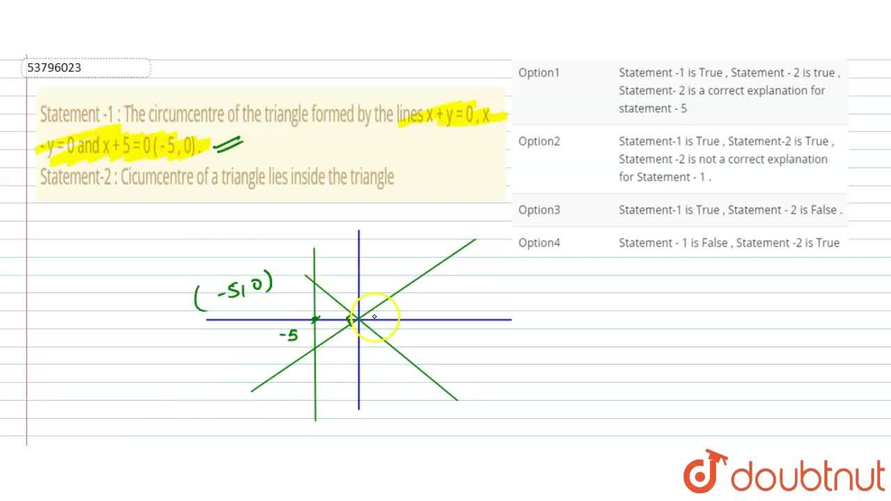 Solution for Statement -1 : The circumcentre of the triangle fo