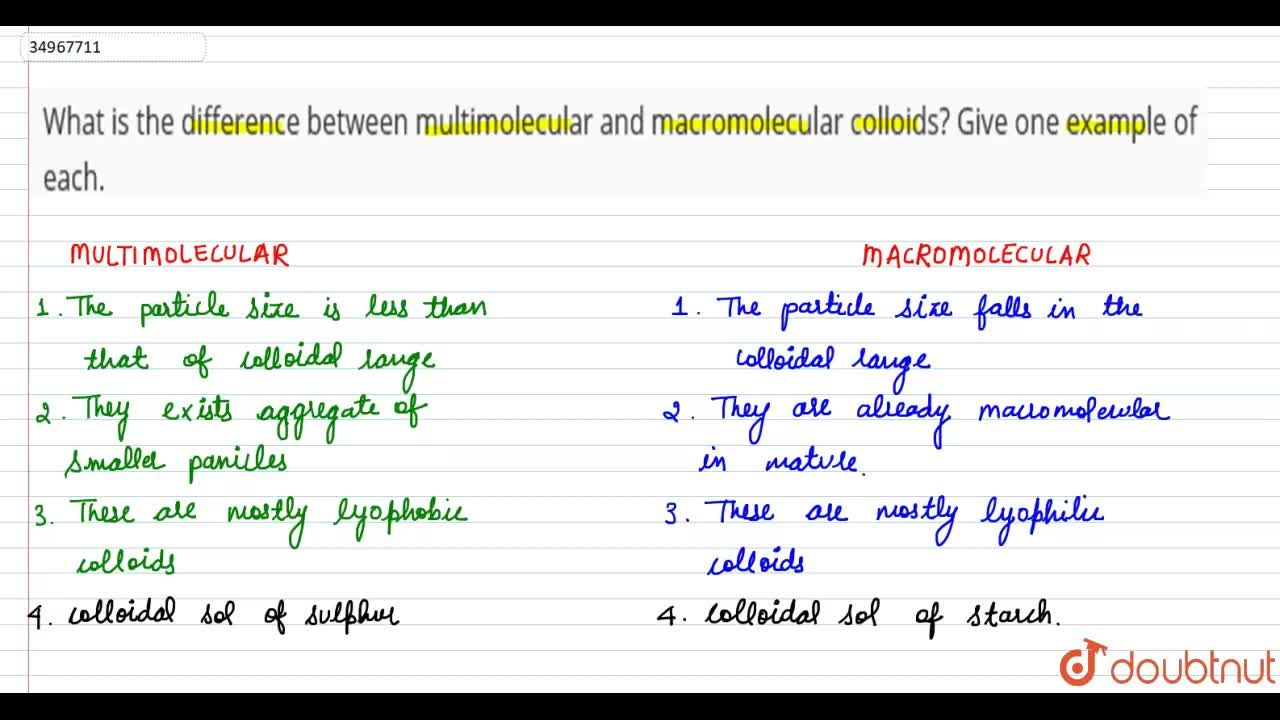Solution for What is the difference between multimolecular and
