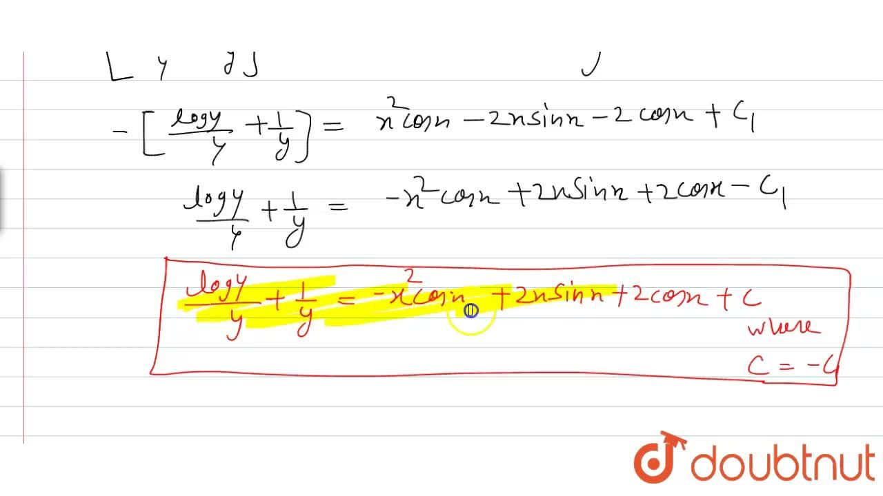 """Solution for Solve the differential  equation <br> """"cosec""""x lo"""