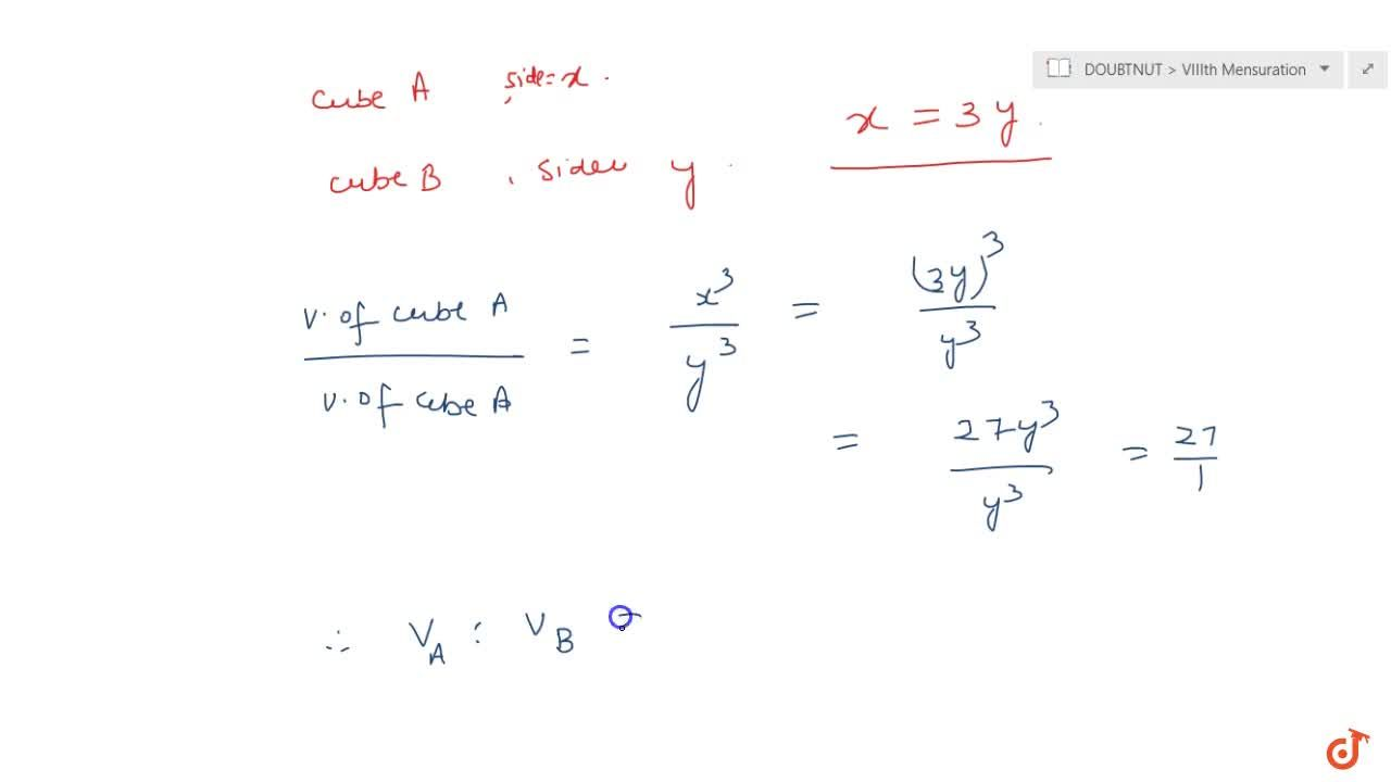 Solution for A cube A has side thrice as long as that of cu