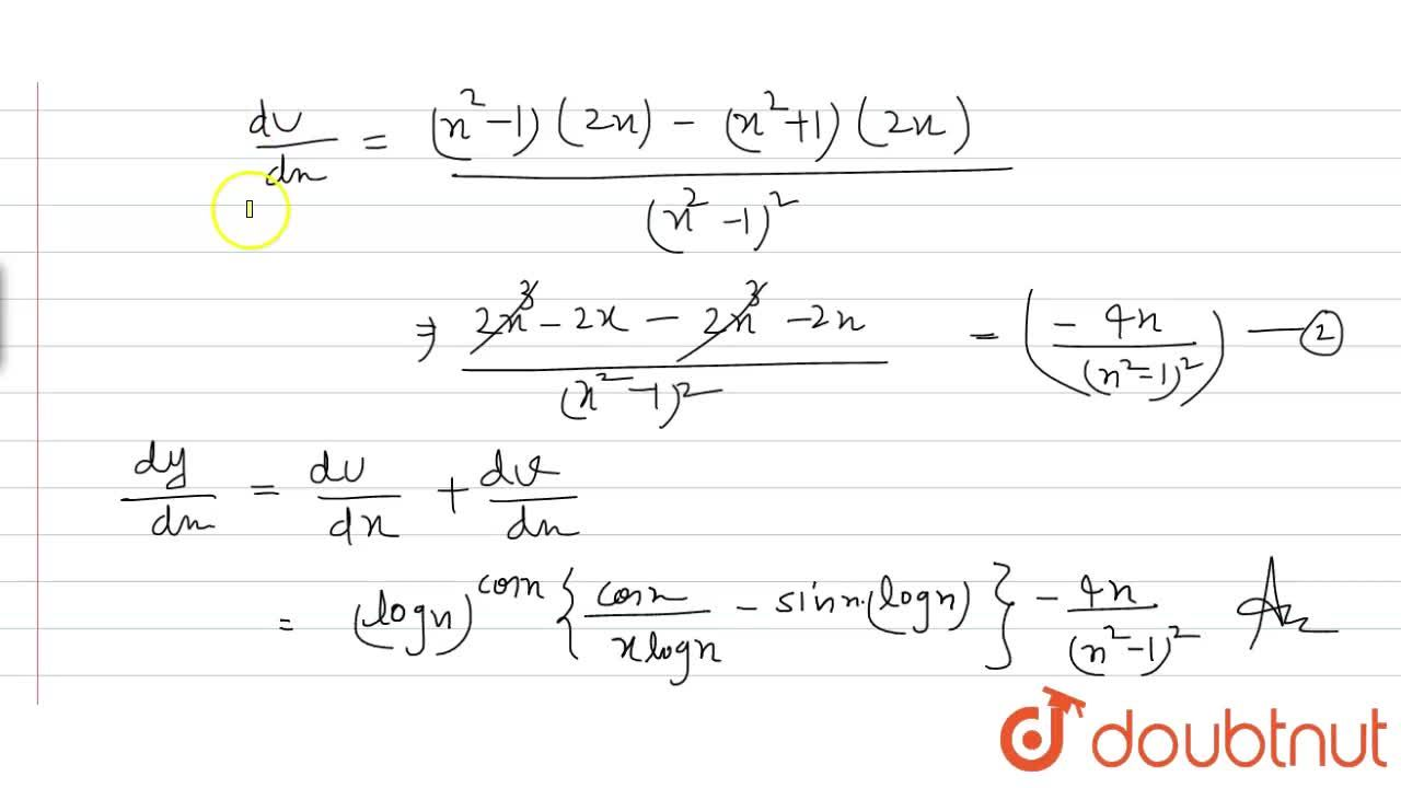 Solution for If y=(logx)^(cosx)+(x^(2)+1),(x^(2)-1), find (d