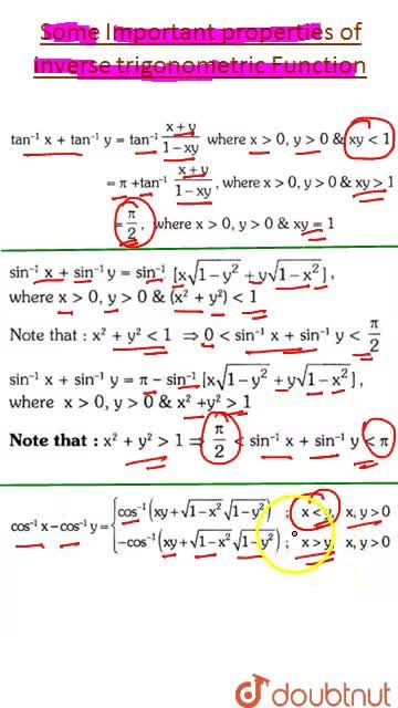 Solution for Some Important properties of Inverse Trigonometric