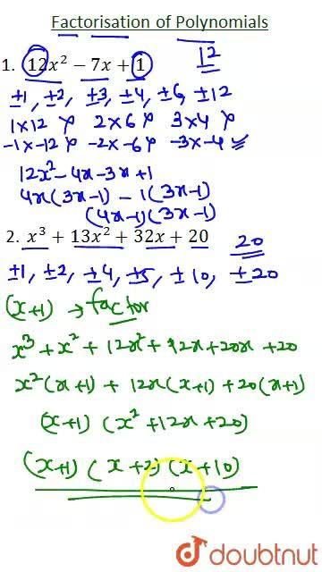 Solution for Factorisation of Polynomials