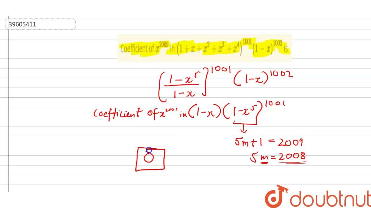 Solution for Coefficient of x^(2009) in (1+x+x^(2)+x^(3)+x^(